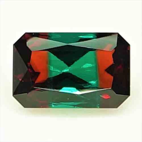 【ルース】【合成宝石】合成 バイカラー レッド ベリル(Bixbite/ビクスバイト) Synthetic Bicolor Red Beryl 2.44ct EM 【ロシア製】【人工宝石】【合成宝石】【送料無料】No,13