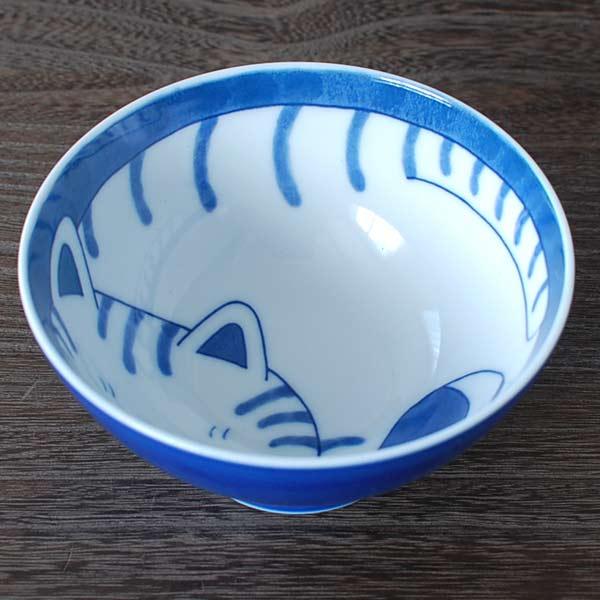 ねこちぐら トラ 茶碗 / 白磁 ご飯茶碗 中平サイズ 猫つぐら 美濃焼(岐阜県) /