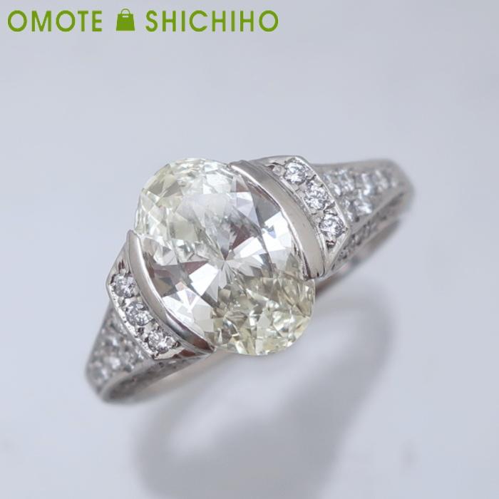 PT950 オーバルダイヤモンド リング #16 D:2.022ct プラチナ レディース 指輪 仕上済【中古】【007】