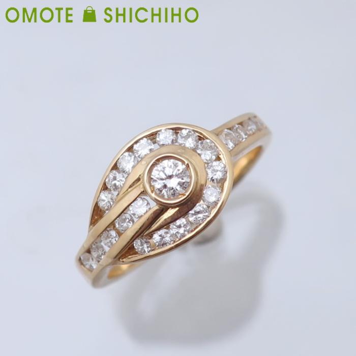 750(K18YG) ダイヤモンド #10 リング K18 イエローゴールド レディース 指輪 仕上済【中古】【007】