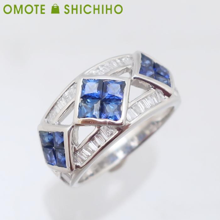 PT900 サファイア ダイヤモンド 13号 リング S:1.68ct/D:0.58ct プラチナ レディース 指輪【中古】【007】