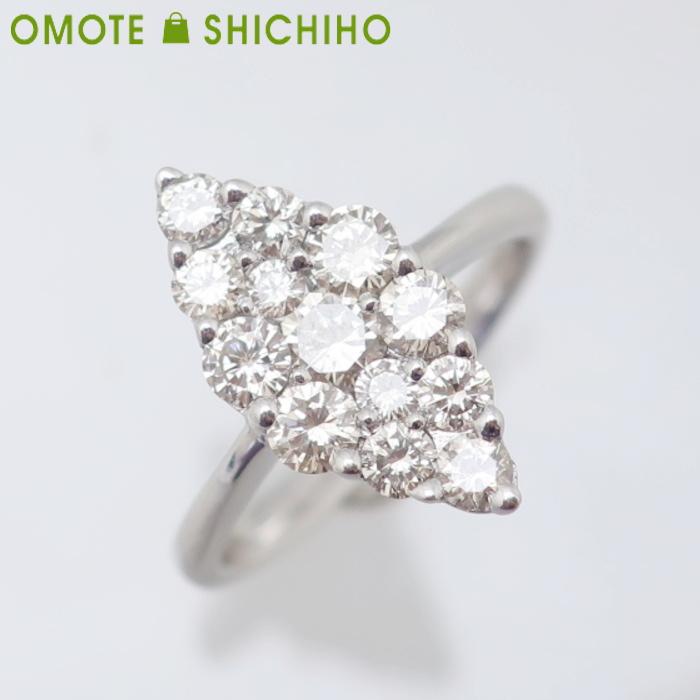 K18WG ダイヤモンド #9 リング D:1.00ct ホワイトゴールド レディース 指輪【中古】【007】