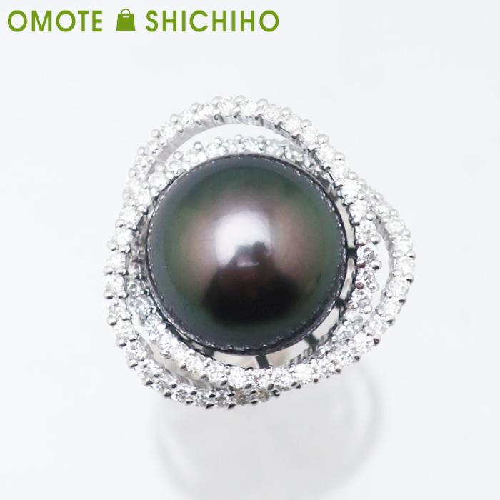 K18WG 黒パール #15 14mm D:0.96ct ダイヤモンド ホワイトゴールド レディース 指輪 鑑別書付【中古】【007】