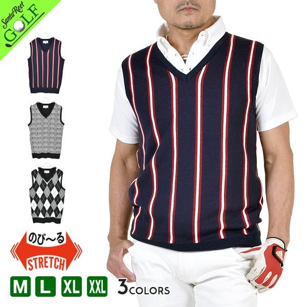 e0198ea975987 ゴルフウェアゴルフベストニットVライントップスゴルフメンズ白ホワイト紺ネイビースポーツ大人