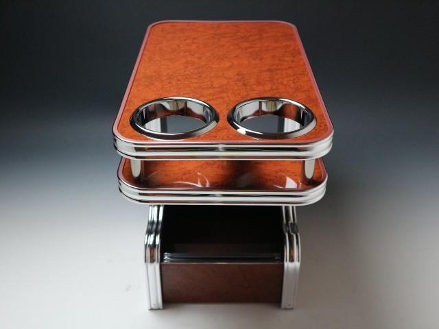 【売り切り! お買い得】デリカD:5(07/01~)セカンドセンターテーブル ウッド 茶xフルメッキ