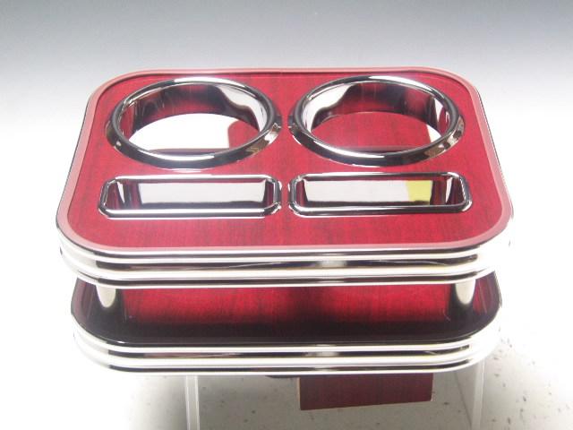 【売り切り! お買い得】100系ハイエースワゴン フロントカップホルダー カリン 茶xフルメッキ