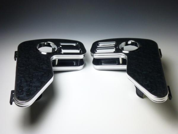 【売り切り! お買い得】QNC系 bB サイドテーブル 運転席側、助手席側セット ブラックウッド BKxフルメッキ
