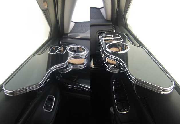 【売り切り! お買い得】21系クラウン(12/12~) サイドテーブル 運転席側、助手席側セット ブラック BKxフルメッキ