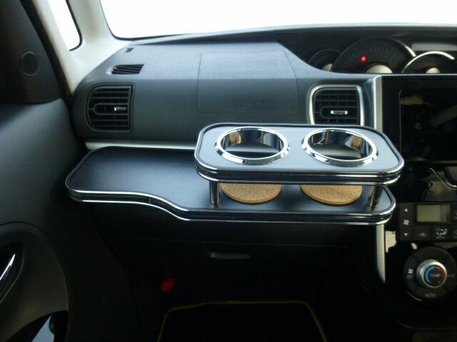 【売り切り! お買い得】LA600系タント フロントテーブル レザーブラック BKxフルメッキ