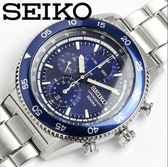 [セイコー]SEIKO 腕時計 クロノグラフタキメーター ブルーダイアル  100M SNDG55P1 クオーツ メンズ  ブルー 文字盤 クオーツ