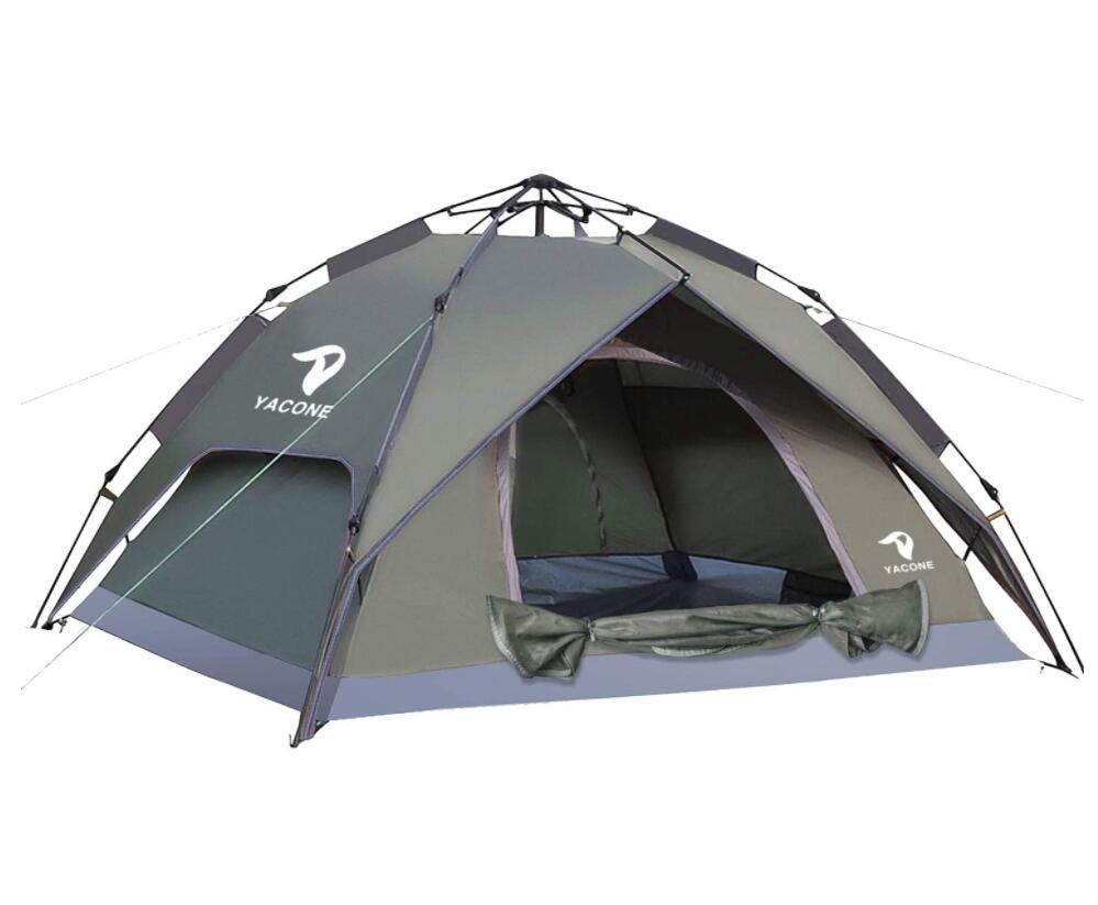 人気ブレゼント! YACONE テント ワンタッチテント 2WAY 3~4人用 設営簡単 コンパクト 軽量 uvカット加工 防水 防災用 防風 ワンタッチ キャンプ ソロ アウトドア 送料無料カード決済可能 二重層