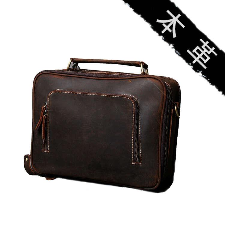 2WAY イタリア復古風 本革 レザー メンズ ショルダーバッグ 斜め掛けバッグ 手提げバッグ iPad ブラウン 鞄 カジュアル 手提げバッグ
