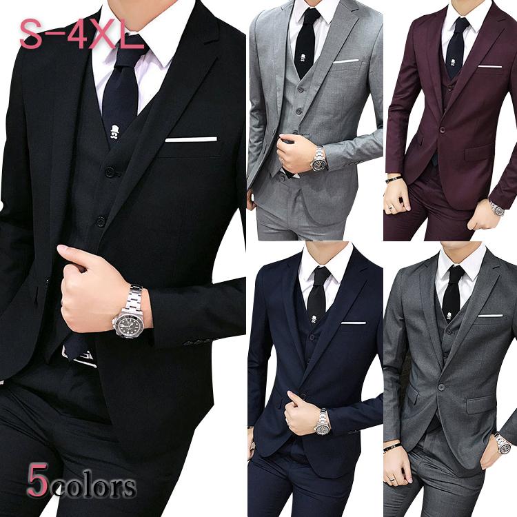 スーツ メンズ スリーピース スーツ 無地 メンズ 3点セットアップ ベスト付き 入学式 結婚式 成人式 スリーピーススーツ 3ピース スーツ 細身 メンズ 成人式 紳士 スーツ メンズ 新作 ワインレッド スーツ グレー ネイビー 紺 スーツ