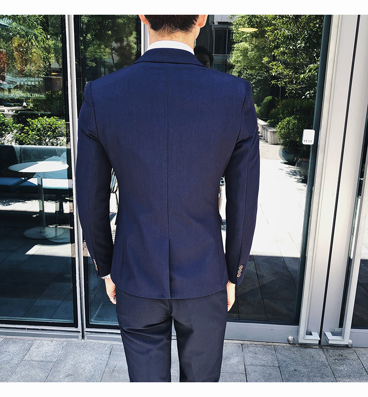 It is man men's wear in spring in coming-of-age ceremony business interview  plain fabric tailored jacket + best + slacks underwear coming-of-age