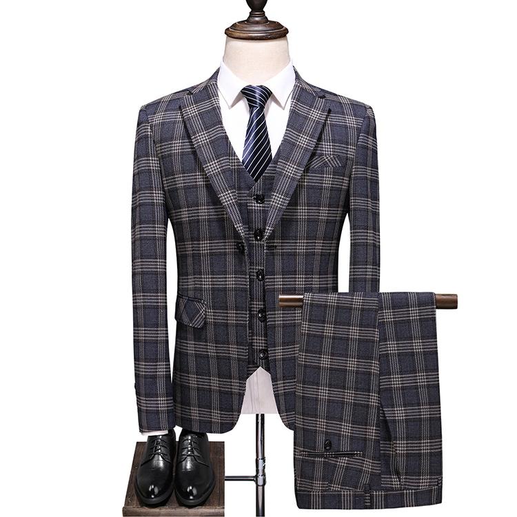 秋冬 スリーピース スーツ メンズ ビジネススーツ セットアップ 日常生活 チェック スーツセットアップ 3ピーススーツ ビジネススーツ スリーピーススーツ おしゃれ ゆったり シングル 一つボタン ブラック ダークグレー 父の日 プレゼント カーキ 男性 紳士服