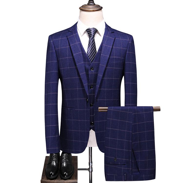 スリーピーススーツ メンズ 秋冬 チェック柄 スーツ メンズ  スリーピース スーツ メンズ 3ピーススーツ メンズ チェック ネイビー ベスト付き 入学式 スリーピーススーツ 3ピース スーツ 男性 ブルー 大きいサイズ シングルスーツ 一つボタン