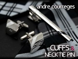 ANDRE COURREGES アンドレ クレージュ オンラインショップ メンズ ネクタイピン タイバー カフスセット ブラック×ホワイト courreges 黒×白 ネコポス不可 andre ボーダー 半額 CT4005A-CC6005A