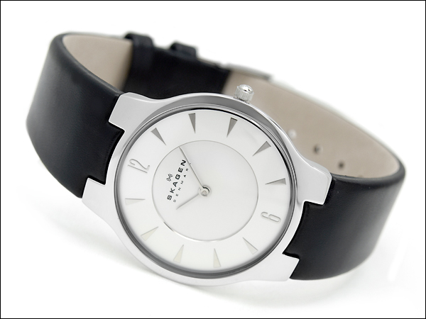 Scar gene thin men's watch white dial black leather belt 433LSLB1