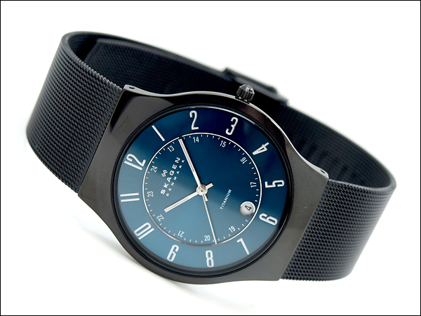 Skagen thin mens watch 233 titanium titanium metallic blue dial universal belt T233XLTMN