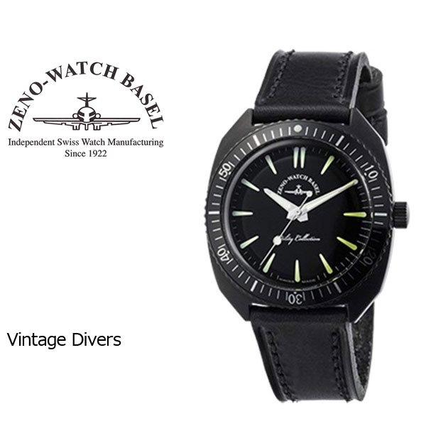 【ZENO WATCH】ゼノウォッチ ダイバーズ Vintage divers クォーツ メンズ 腕時計 ブラック ZN102-BB-LBK