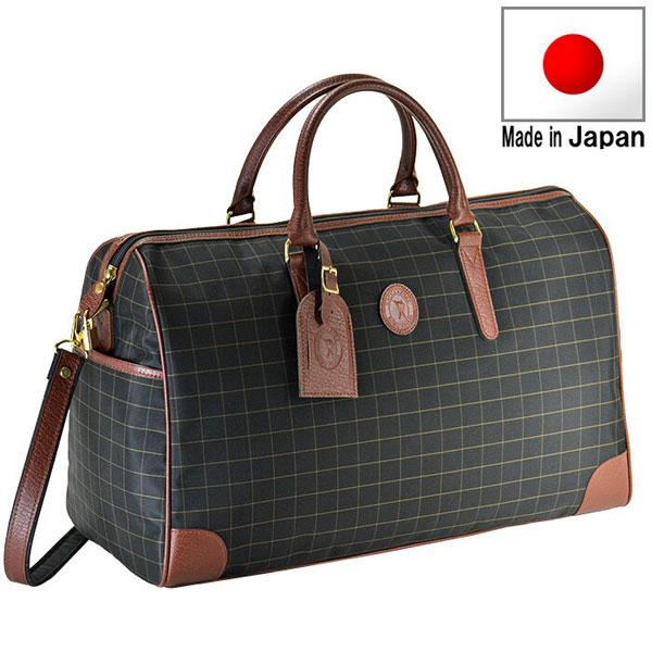 【CACCIATORE】 カチャトーレ 豊岡製鞄 日本製 メンズ ボストンバッグ ナイロンチェックジャガード織 ブラック 11922-1