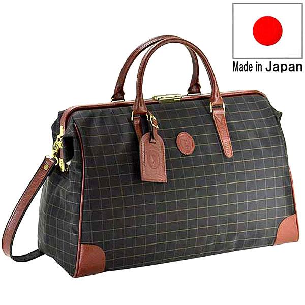 【CACCIATORE】 カチャトーレ 豊岡製鞄 日本製 メンズ ボストンバッグ ダレスバッグ ナイロンチェックジャガード織 ブラック 11933-1