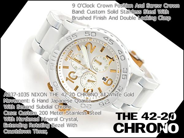 Nixon mens Watch THE 42-20 CHRONO 42-20 Chrono-all white gold A0371035
