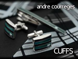 【andre courreges】アンドレ・クレージュ カフス グリーン×ブラック ボーダー柄 CC6003B 【セットではありません】