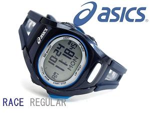 ASICS regular size digital watch lame tone dark blue urethane belt CQAR0102