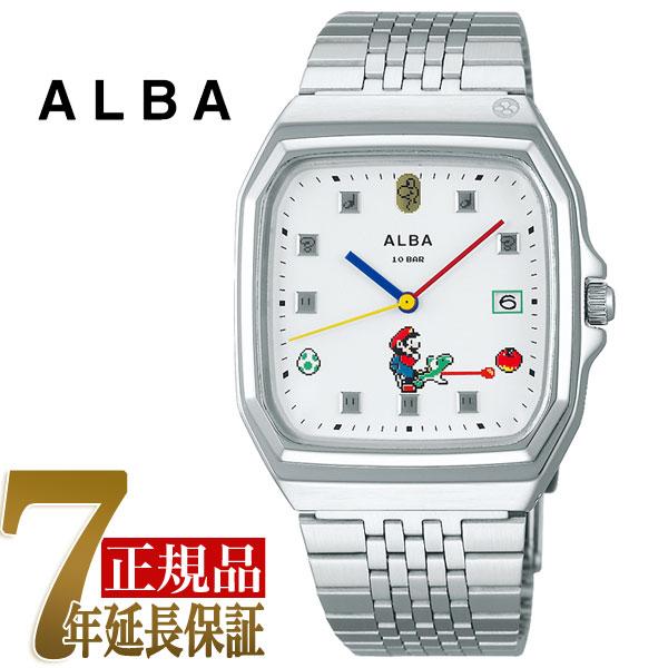 セイコー アルバ SEIKO ALBA クォーツ メンズ 腕時計 スーパーマリオコラボ スーパーファミコンマリオシリーズ ホワイト ACCK425