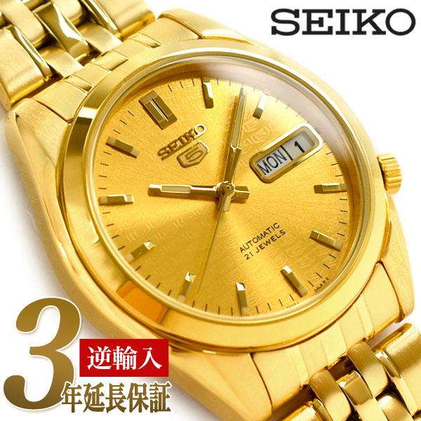 動画あり 3年保証 SNK366K1 逆輸入 セイコーファイブ 返品不可 セール価格 男性用 自動巻き機械式 腕時計 メンズ SEIKO5 オールゴールド ステンレスベルト セイコー5ロゴ柄