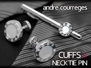 【andre courreges】アンドレ・クレージュ ネクタイピン&カフスセット シェル シルバー×ホワイト ACT5202-ACC12002【ネコポス不可】