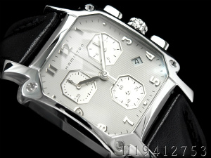 Hamilton Lloyd men watch chronograph silver dial X black leather belt H19412753