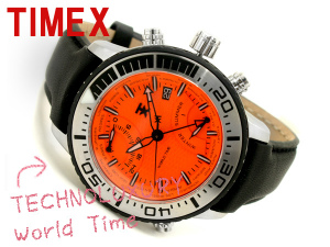 Timex mens world time watch Orange dial-leather belt T3C447