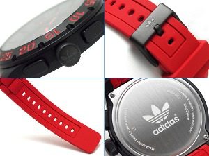 Adidas NEWBURGH new Bergh chronograph men watch black red rubber belt ADH2793