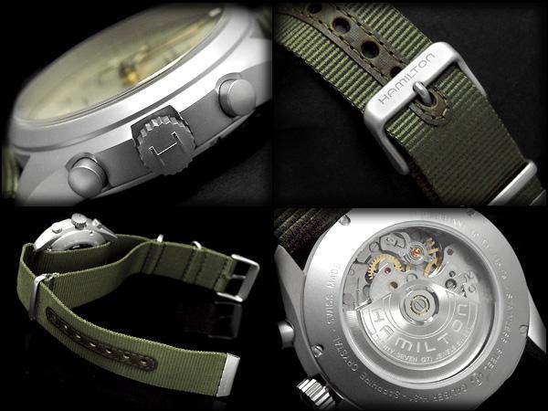 Hamilton Self Winding Watch Rolling By Hand Type Men Machine Type Watch Khaki Pilot Pioneer Yellow Gold X Silver Khaki Green Nylon Belt H76456955