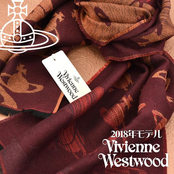 【送料無料】Vivienne Westwood 2018年新作 ヴィヴィアンウエストウッド ヴィヴィアン コレクション マフラー レディース オーブ柄 グラデーション ストール ボルドー×オレンジ VV18-CO-I201-BOR【あす楽】