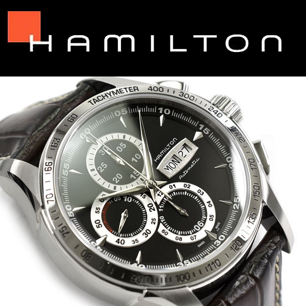 Hamilton Self Winding Watch Rolling By Hand Type Chronograph Men Machine Type Watch Road Hamilton Black Dial Dark Buran Leather Belt H32816531
