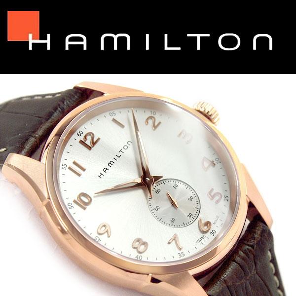 【Hamilton】ハミルトン ジャズマスター シンライン スモールセコンド クォーツ メンズ腕時計 ホワイトシルバー×ローズゴールドダイアル ブラウン レザーベルト H38441553【あす楽】
