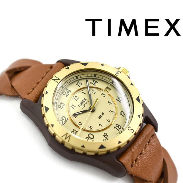 【国内正規品】タイメックス サファリ アナログ クォーツ 腕時計 ゴールドダイアル ブラウン レザーベルト TW2P88300