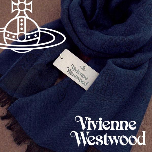 【送料無料】Vivienne Westwood ヴィヴィアンウエストウッド ヴィヴィアン ストール レディース オーブロゴ柄 ダークブルー VV-K209-DBL