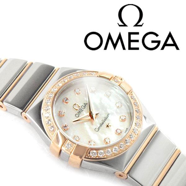欧米茄欧米茄星座石英女士手表钻石拨壳粉红色和银色抛光的不锈钢带 123.25.24.60.55.005