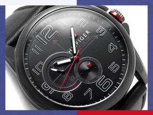 湯米希爾菲格男士手錶黑色皮帶 1791005