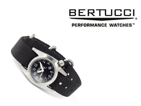 【正規品】BERTUCCI ベルトゥッチ クォーツ レディース腕時計 ステンレスケース ブラックダイアル ブラックナイロンベルト BE-18000【あす楽】