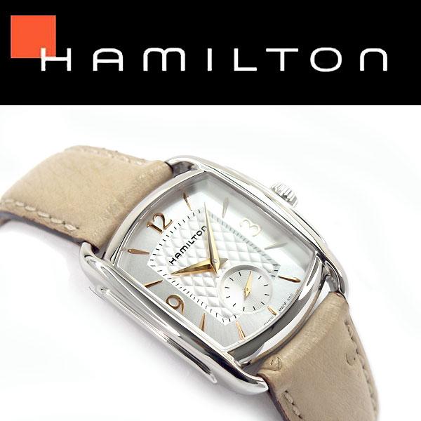 【HAMILTON】ハミルトン アメリカンクラシック バグリークォーツ レディース 腕時計 アナログ シルバー×ゴールドダイアル ベージュ レザーベルト スイス製 H12451855【あす楽】