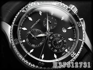 Hamilton chronograph men watch jazz master sea view black dial black leather belt H37512731