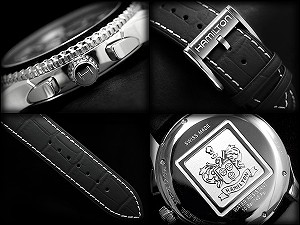 漢米爾頓計時男士手錶 jazzmastersey 視圖黑色錶盤黑色真皮皮帶 H37512731