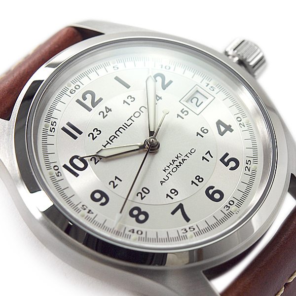 f1fd755dbb13 HAMILTON Hamilton khaki field men self-winding watch watch silver dial  brown leather belt H70455553