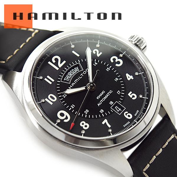6f274318b HAMILTON Hamilton khaki field men self-winding watch watch black dial black  leather belt H70505733