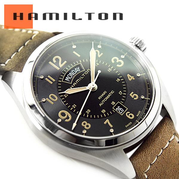 eab44dd40 HAMILTON Hamilton khaki field men self-winding watch watch black dial khaki  leather belt H70505833